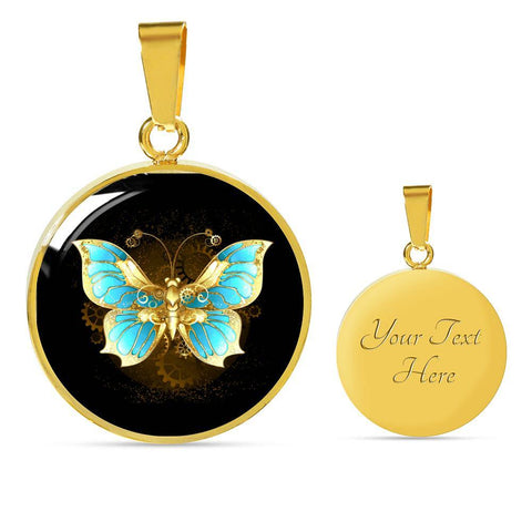 Butterfly Pendant Necklace Dark in Gold - Poppies And Thyme