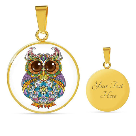 Bright Owl Pendant Necklace in 18k Gold