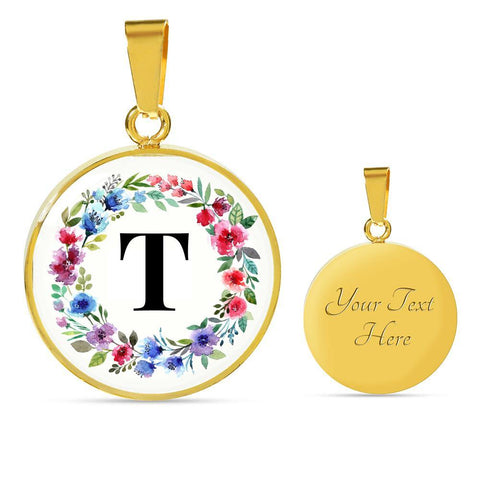 Letter T Pendant Necklace Initials Personalized - Poppies And Thyme