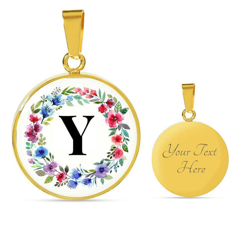 Letter Y Pendant Necklace Initials Personalized in 18k Gold or Stainless Steel - Poppies And Thyme
