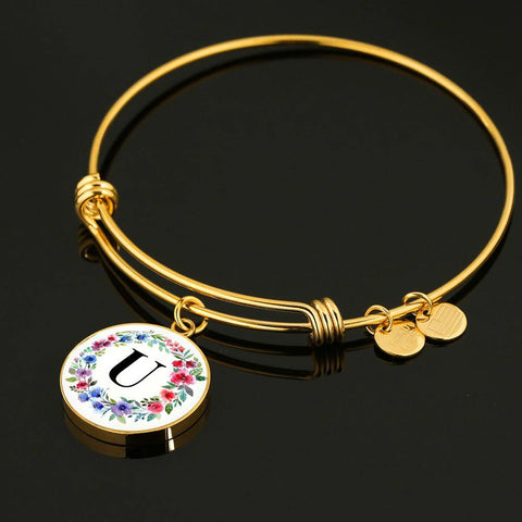 Floral Letter U Initial Bangle Bracelet in 18k Gold or Stainless Steel