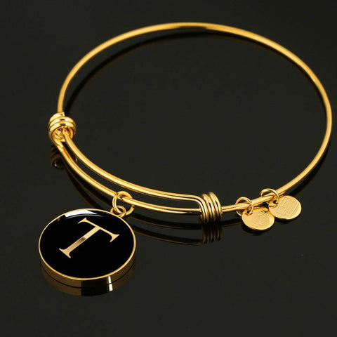 Letter T Initial Bangle Bracelet in Gold or Stainless Steel - Poppies And Thyme
