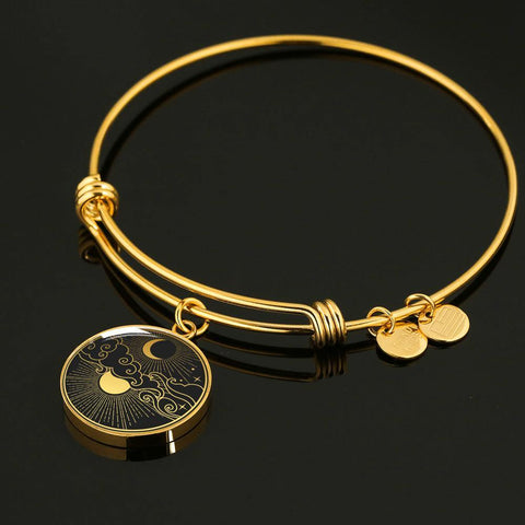 Moon and Stars Jewelry Luxury Bangle Personalized in 18k Gold or Stainless Steel