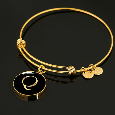Letter Q Initial Bangle Bracelet in Gold or Stainless Steel
