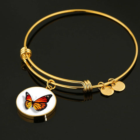 Cute Monarch Butterfly Bangle Bracelet in Bright Orange in 18k Gold or Stainless Steel