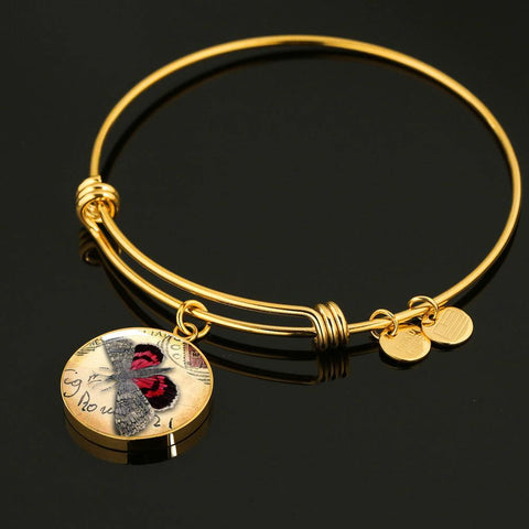 Vintage Butterfly Bangle in Red