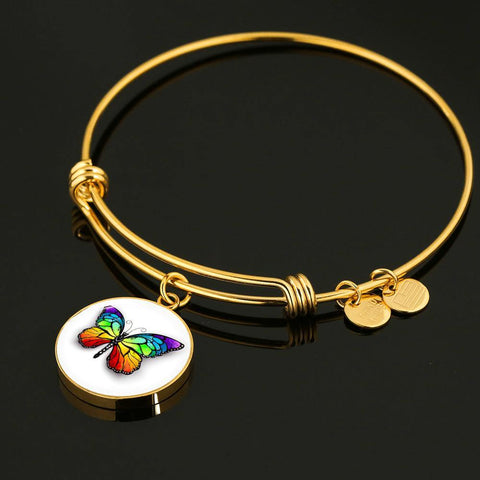 Butterfly Bangle Bracelet in Stainless Steel and 18K Gold