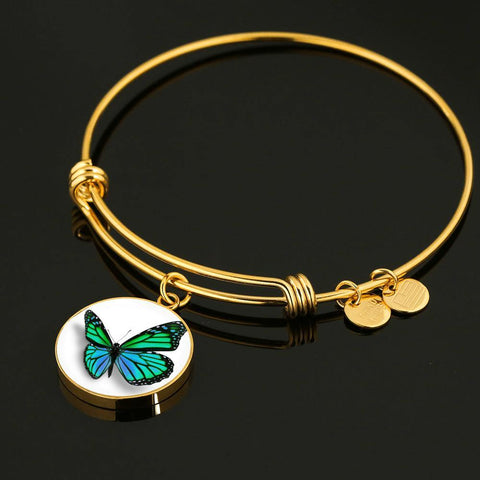 Green Butterfly Bangle Bracelet Gold