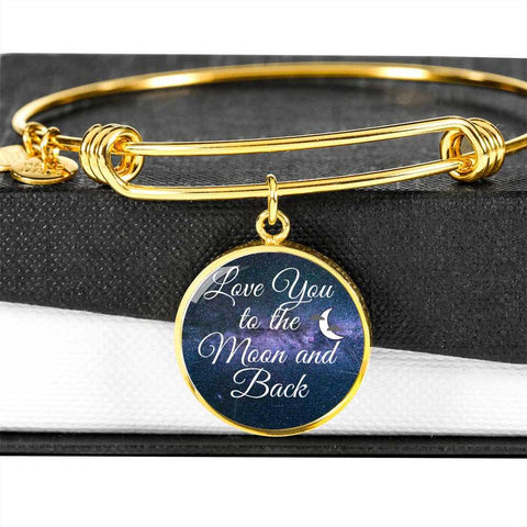 Love You to the Moon and Back Bangle Personalized in 18k Gold or Stainless Steel