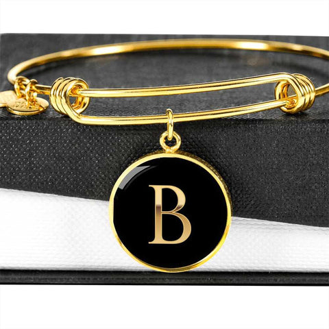 Letter B Initial Bangle Bracelet Personalized in 18k Gold or Stainless Steel