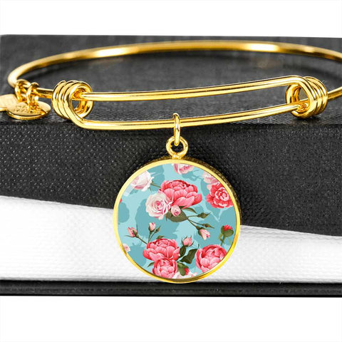 Pretty Floral Bracelet in Pink Flowers with Blue Background