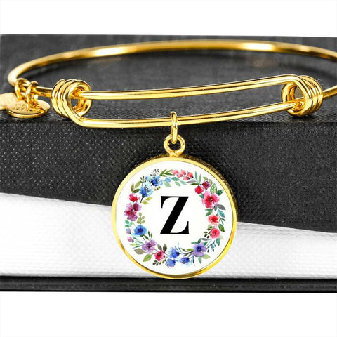Floral Letter Z Initial Bangle Bracelet Personalized in 18k Gold or Stainless Steel