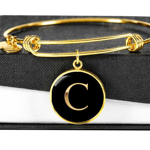 Letter C Initial Bangle Bracelet Personalized in 18k Gold or Stainless Steel - Poppies And Thyme