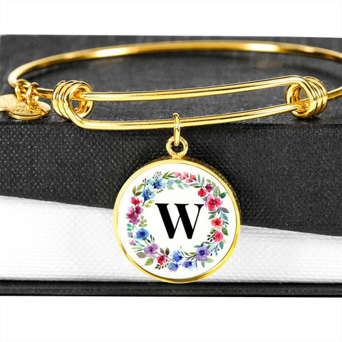 Floral Letter W Initial Bangle Bracelet Personalized in 18k Gold or Stainless Steel