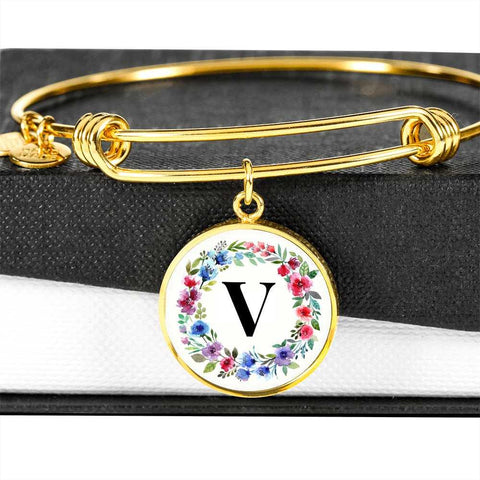 Floral Letter V Initial Bangle Bracelet in 18k Gold or Stainless Steel - Poppies And Thyme