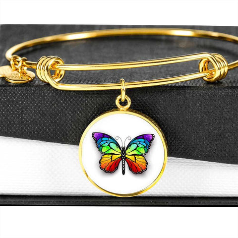 Butterfly Bangle Bracelet in Stainless Steel and 18K Gold - Poppies And Thyme