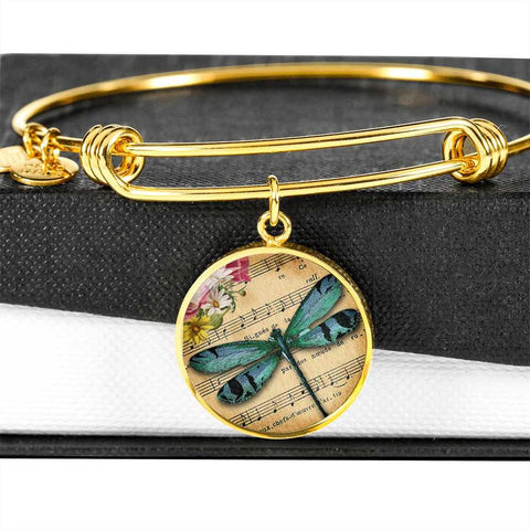Dragonfly Circle Bracelet in Personalized in 18k Gold or Stainless Steel - Poppies And Thyme