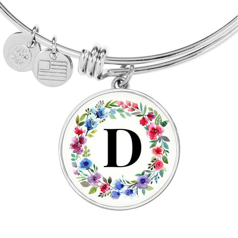 Floral Letter D Initial Bangle Bracelet in 18k Gold or Stainless Steel