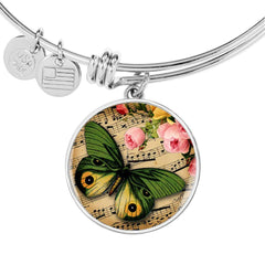Floral Adjustable Butterfly Bangle Personalized in 18k Gold or Stainless Steel
