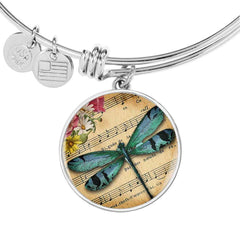 Dragonfly Circle Bracelet in Personalized in 18k Gold or Stainless Steel