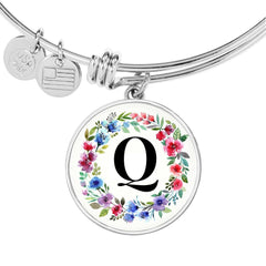 Floral Letter Q Initial Bangle Bracelet in 18k Gold or Stainless Steel
