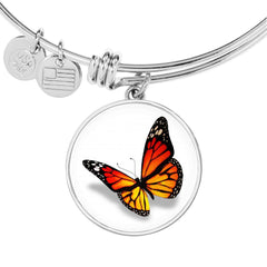 Cute Monarch Butterfly Bangle Bracelet in Bright Orange with Free Shipping