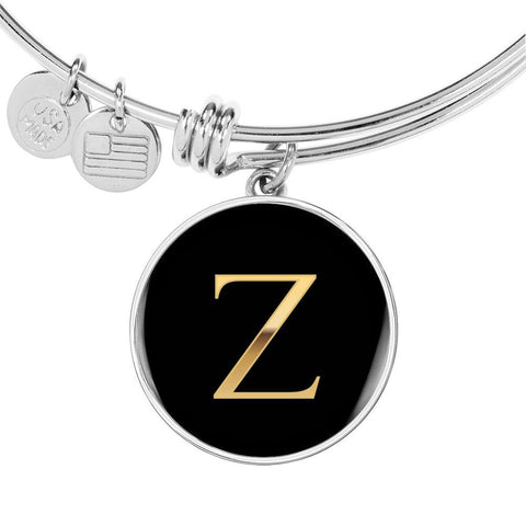 Letter Z  Initial Bangle Bracelet Personalized in 18k Gold or Stainless Steel - Poppies And Thyme