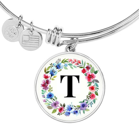 Floral Letter T Initial Bangle Bracelet in 18k Gold or Stainless Steel