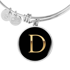 Letter D Initial Bangle Bracelet Personalized in 18k Gold or Stainless Steel