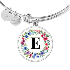Floral Letter E Initial Bangle Bracelet in 18k Gold or Stainless Steel