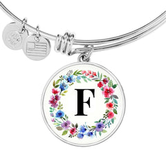Floral Letter F Initial Bangle Bracelet in 18k Gold or Stainless Steel - Poppies And Thyme