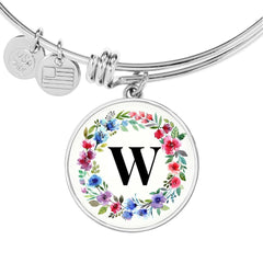 Floral Letter W Initial Bangle Bracelet Personalized in 18k Gold or Stainless Steel - Poppies And Thyme