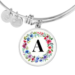 Floral Letter A Initial Bangle Bracelet Personalized in 18k Gold or Stainless Steel - Poppies And Thyme