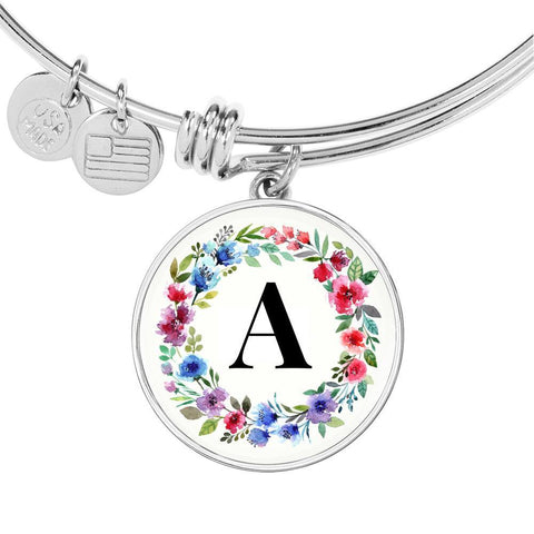 Floral Letter A Initial Bangle Bracelet Personalized in 18k Gold or Stainless Steel