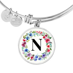 Floral Letter N Initial Bangle Bracelet in 18k Gold or Stainless Steel - Poppies And Thyme