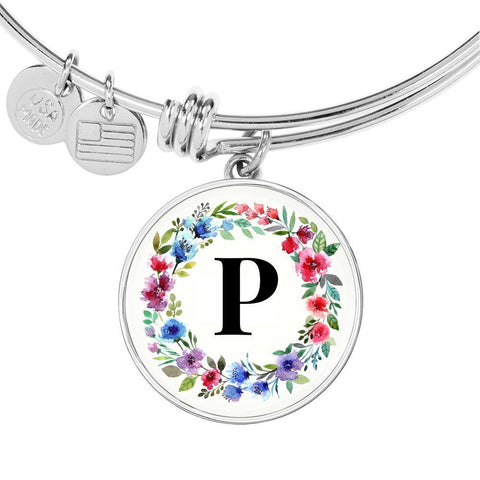 Floral Letter P Initial Bangle Bracelet in 18k Gold or Stainless Steel