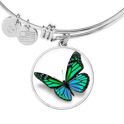 Green Butterfly Bangle Bracelet