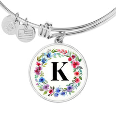 Floral Letter K Initial Bangle Bracelet in 18k Gold or Stainless Steel - Poppies And Thyme