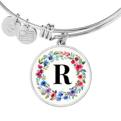 Floral Letter R Initial Bangle Bracelet in 18k Gold or Stainless Steel - Poppies And Thyme