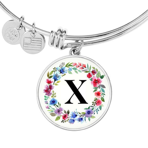 Floral Letter X Initial Bangle Bracelet  Personalized in 18k Gold or Stainless Steel - Poppies And Thyme