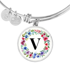 Floral Letter V Initial Bangle Bracelet in 18k Gold or Stainless Steel