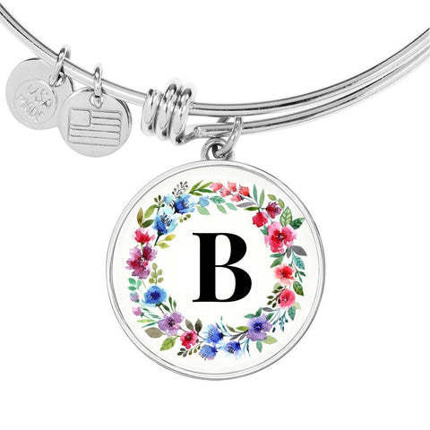Floral Letter B Initial Bangle Bracelet Personalized in 18k Gold or Stainless Steel - Poppies And Thyme