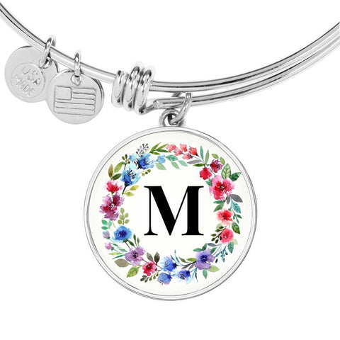 Floral Letter M Initial Bangle Bracelet in 18k Gold or Stainless Steel