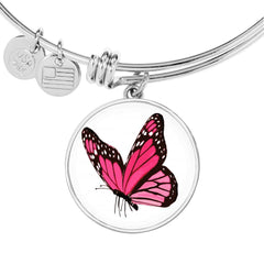 Stunning Pink Butterfly Bangle or Bracelet Jewelry with Free Shipping