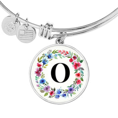Floral Letter O Initial Bangle Bracelet in 18k Gold or Stainless Steel - Poppies And Thyme