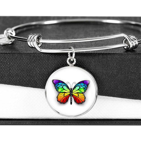 Butterfly Bangle Bracelet in Stainless Steel