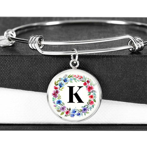 Floral Letter K Initial Bangle Bracelet in 18k Gold or Stainless Steel