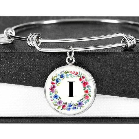 Floral Letter I Initial Bangle Bracelet in 18k Gold or Stainless Steel - Poppies And Thyme
