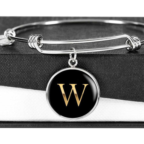 Letter W Initial Bangle Bracelet Personalized in 18k Gold or Stainless Steel - Poppies And Thyme