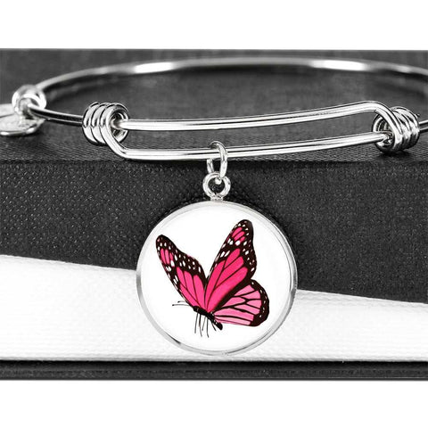Stunning Pink Butterfly Bangle or Bracelet Jewelry